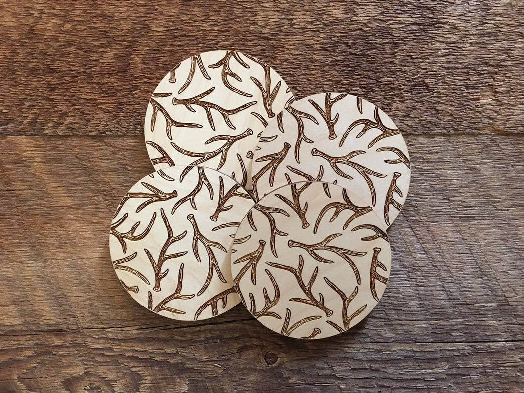 Antlers Wood Coaster Set