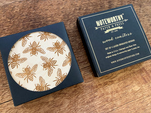 Honey Bees Wood Coaster Set