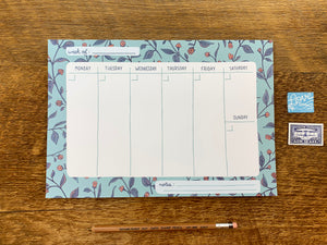 Blue Floral Weekly Desk Planner
