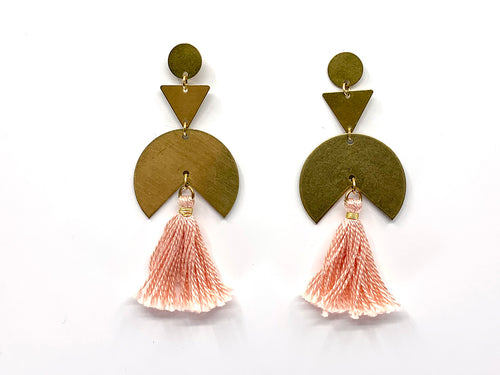 Blush Large Graphic Tassle Post Earring