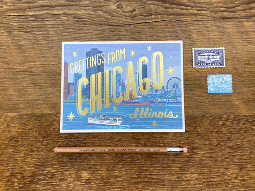 Greetings from Chicago Foil Postcard