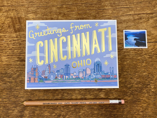 Greetings from Cincinnati Foil Postcard