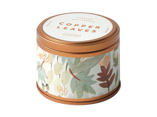 Copper Leaves Metallic Tin Candle