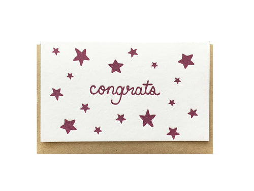 Congrats Purple Stars Enclosure Card