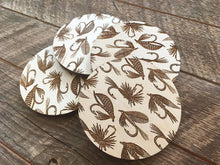 Fishing Flies Wood Coaster Set