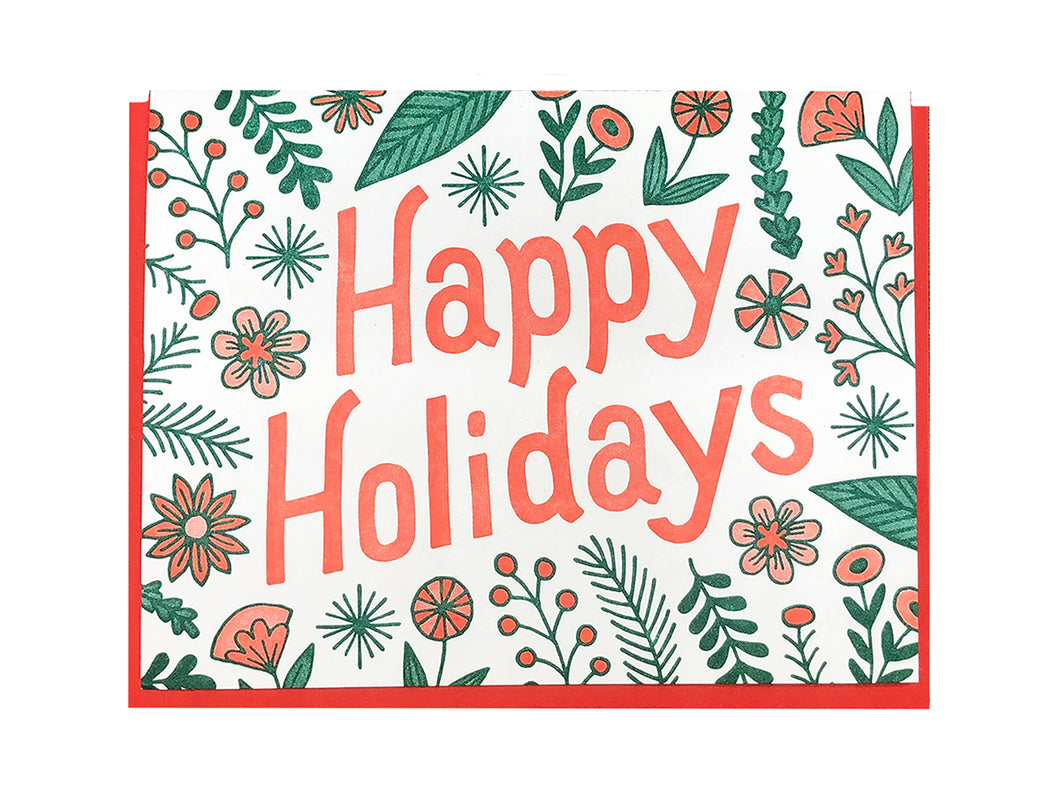 Happy Holidays Flora Greeting Card