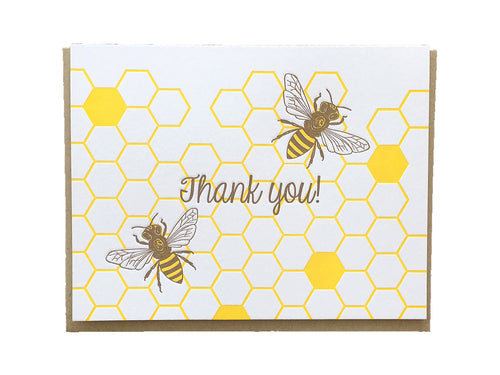 Honey Bees Thank You Greeting Card