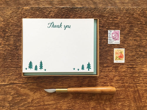 Pine Trees Thank You Flat Stationery