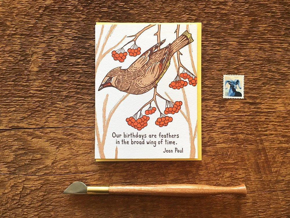 Feathers On Brown Card