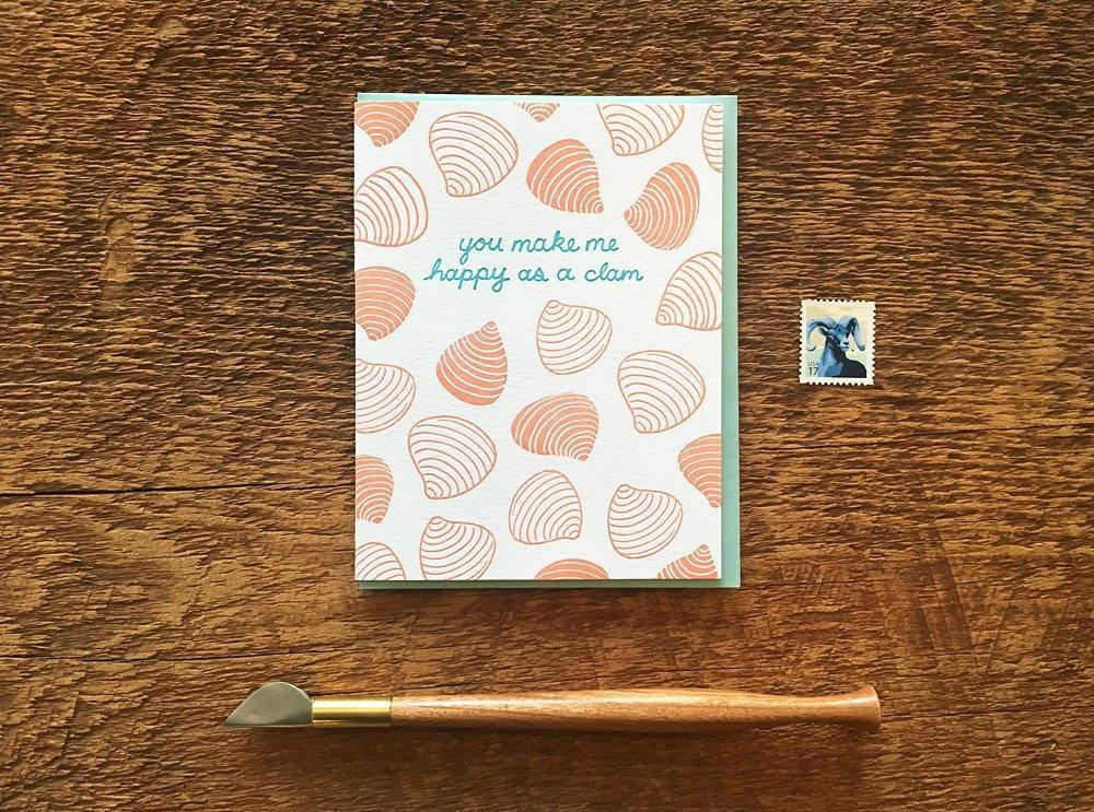 Happy Clam Greeting Card