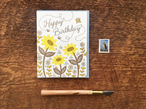 Birthday Bees & Blooms Greeting Card