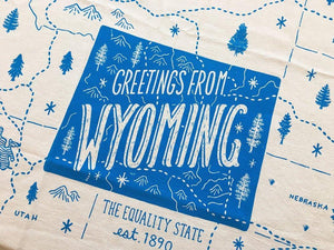 Greetings from Wyoming State Tea Towel