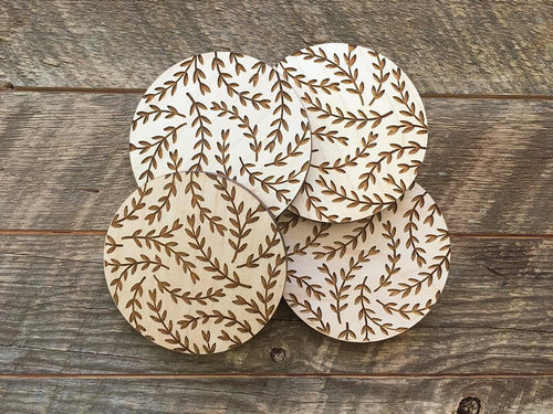 Leaves Wood Coaster Set