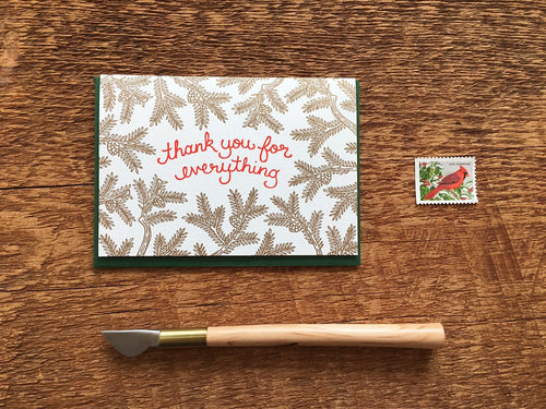 Pine Branch Thank You  Greeting Card