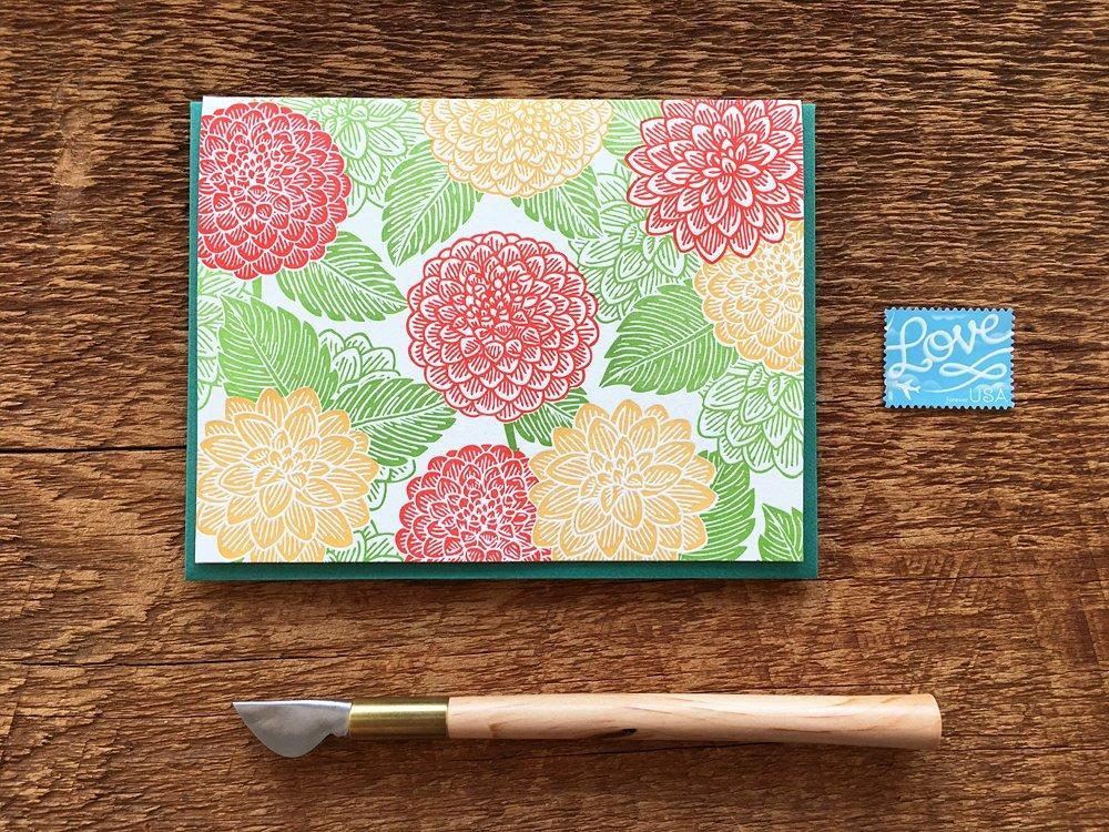 Dahlias Greeting Card