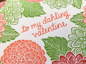 Dahlia Valentine Greeting Card