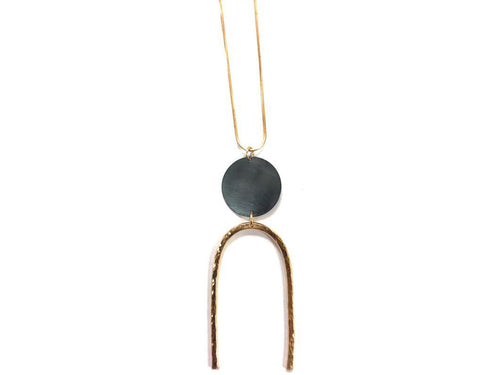 Magnet Necklace in Gunmetal and Brass