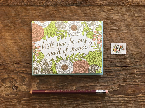 Floral Maid of Honor Greeting Card