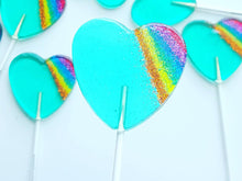 Marshmallow, Aqua Rainbow Sparkle Heart Lollipop