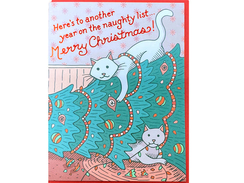 Naughty Cats Christmas Greeting Card