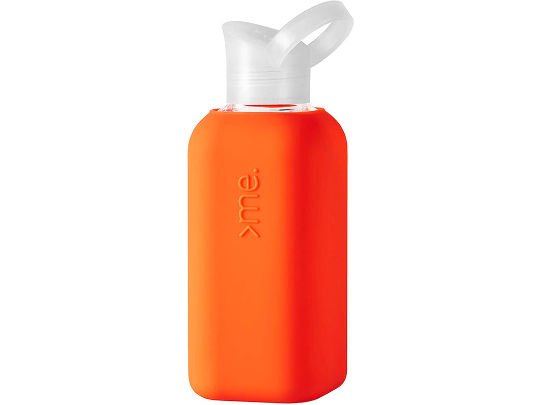 Glass Water Bottle with Silicone Sleeve, Bright Orange
