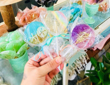 Green Apple, Teal and Gold Sparkle Lollipop