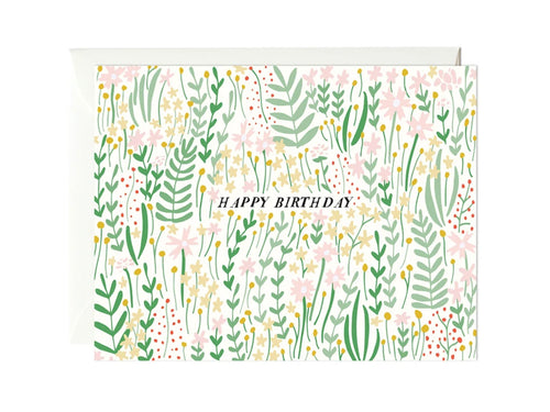 Garden Florals Birthday, Single Card