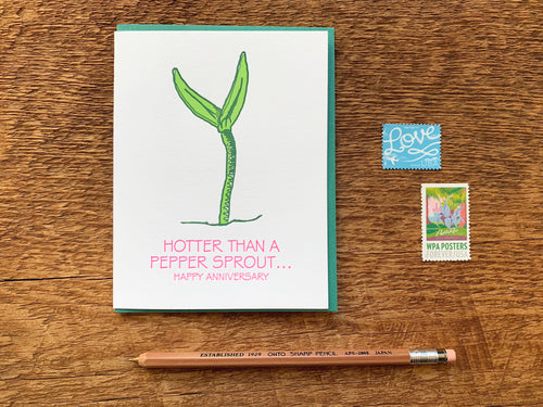 Pepper Sprout Anniversary Greeting Card
