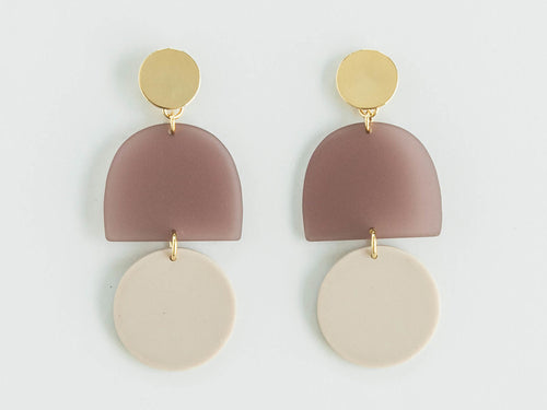 Matte Plum + Bisque Circle Earring