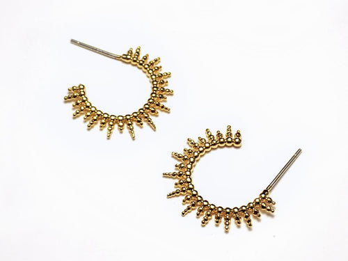 Sunburst Huggie Hoops: Gold