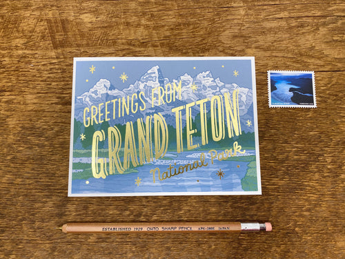 Grand Teton National Park Foil Postcard