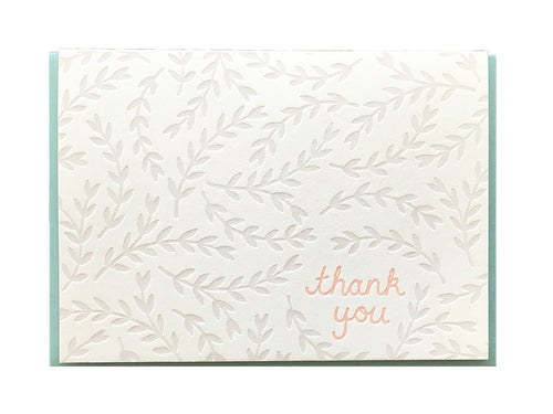 Grey Leaves Thank You Greeting Card