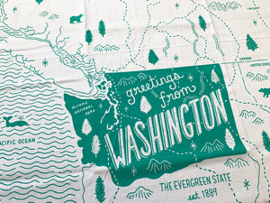 Greetings from Washington Tea Towel