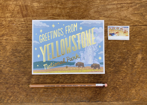 Yellowstone National Park Foil Postcard