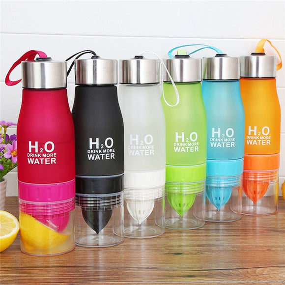 Large Capacity 650ml Sports Water Bottle with Fruit Flavour Dispenser - 6 Colours