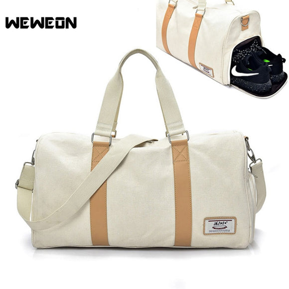 Durable Canvas  Men / Womens Sports Bag with Shoes Storage