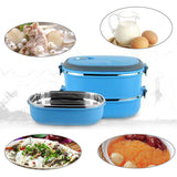 Two Tier Stainless Steel Thermal Food Prep Container with Outlet Valve - 3 Colours