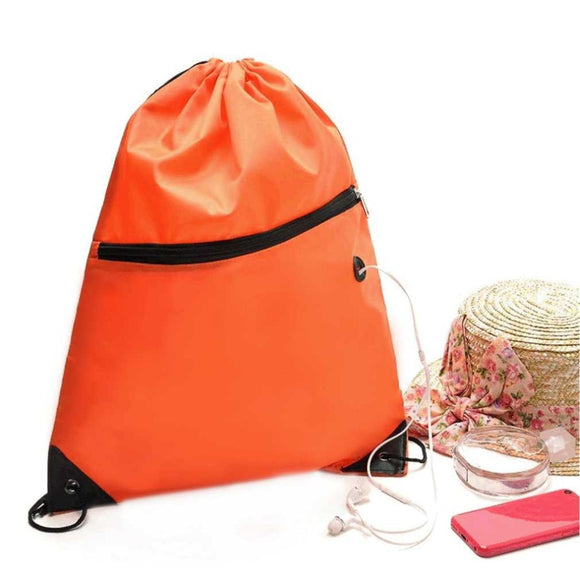 46x40cm Waterproof Drawstring Gym Bag with Zipper Pocket - 5 Colours