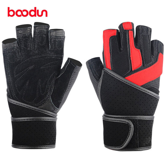 1 Pair of Heavy Duty Weightlifting Gloves with Wrist Straps