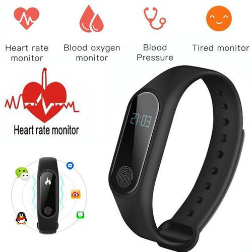 Waterproof Fitness Tracker with Heart Rate and Blood Pressure Monitor - 10 Colours