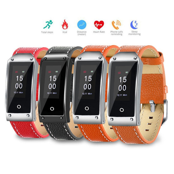 Waterproof Fitness Tracker Watch with Leather Strap - 3 Colours