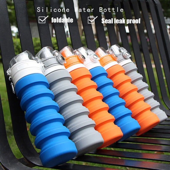 Collapsible Silicone Sports Water Bottle - 3 Colours