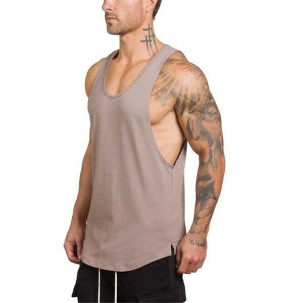 Longline Fitted Cotton Gym Workout Vest - 5 Colours