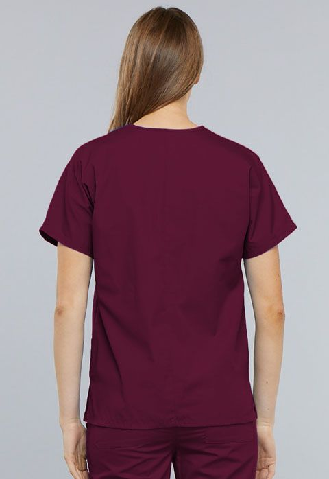 Cherokee Workwear Originals V-neck Top Wine