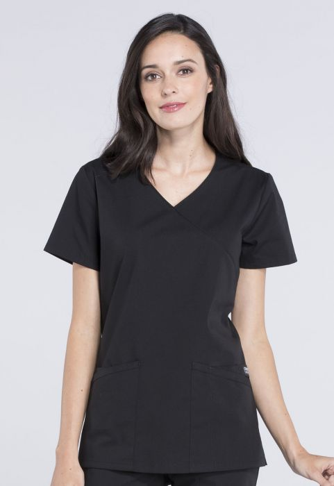 Cherokee Workwear Professionals Mock Wrap Top Black