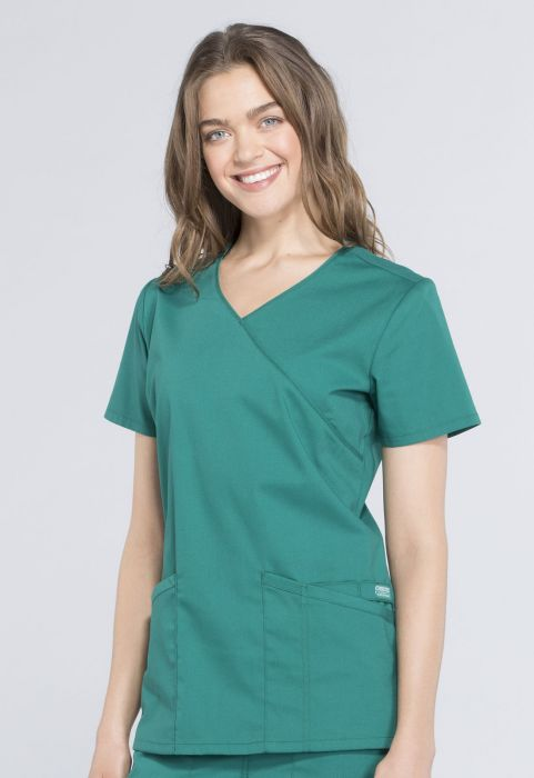 Cherokee Workwear Professionals Mock Wrap Top Hunter Green