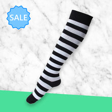 Load image into Gallery viewer, TheraSocks Knee High - Black & White Striped - TheraWear