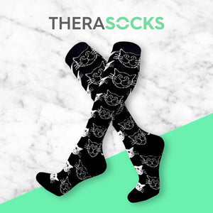 TheraSocks Knee High - Black n White Cats - TheraWear
