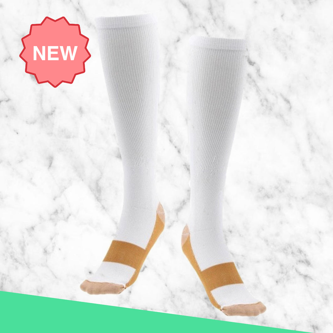 TheraSocks Copper Infused - White & Gold - TheraWear