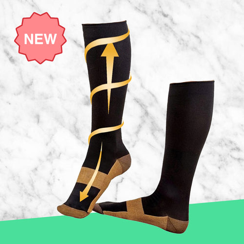 TheraSocks Copper Infused - Black & Gold - TheraWear